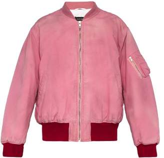 Calvin Klein Logo Embroidered Distressed Cotton Bomber Jacket - Mens - Pink