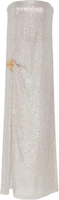 Oscar de la Renta Strapless Metallic Gown With Front Slit