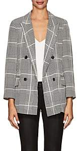 L'Agence Women's Taryn Houndstooth-Plaid Silk Double-Breasted Blazer - Black
