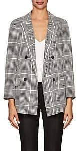 L'Agence Women's Taryn Houndstooth-Plaid Silk Double-Breasted Blazer - Black
