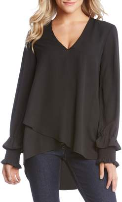 Karen Kane Smocked Sleeve Crossover Top