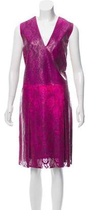 Christopher Kane Leather V-Neck Knee-Length Dress