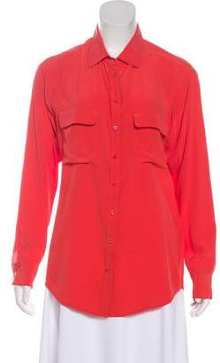 Equipment Silk Collared Button-Up Top