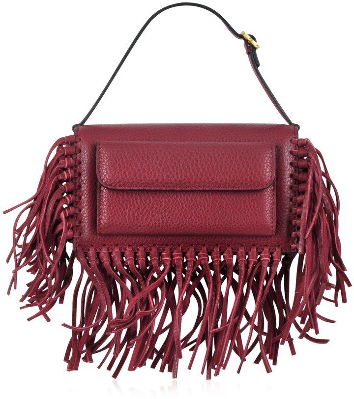 Valentino Gryphon Fringe Leather Flap Bag