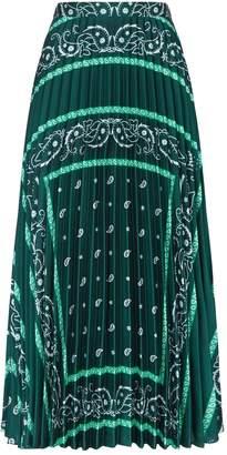 Sandro Paisley Pleated Midi Skirt