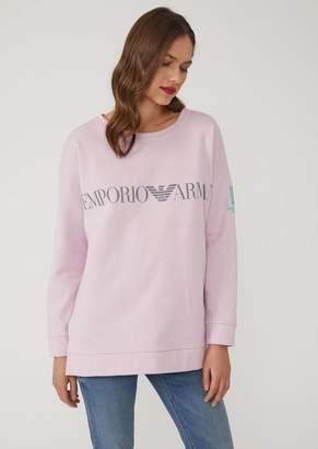 Emporio Armani Cotton Sweatshirt With Central Logo Detail