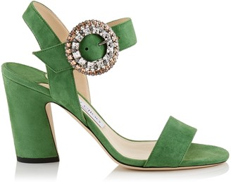 Jimmy Choo MISCHA 85 Lime Suede Slingback Sandals with Crystal Buckle