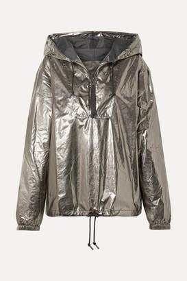 Reebok x Victoria Beckham Metallic Foiled Shell Hooded Track Jacket - Silver