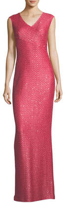 St. John Hansh-Knit V-Neck Column Gown