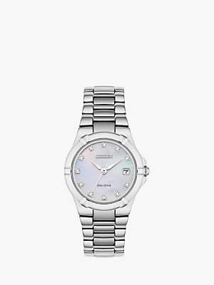 Citizen EW1531-55D Women's Diamond Date Bracelet Strap Watch, Silver/Mother of Pearl