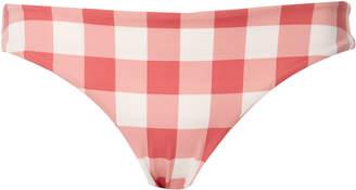 Tori Praver Mimi Ruched Gingham Cheeky Bikini Bottom