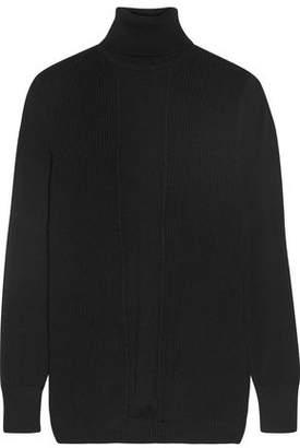 Cushnie et Ochs Paneled Ribbed Merino Wool Turtleneck Sweater