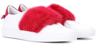 Givenchy Fur-trimmed leather sneakers