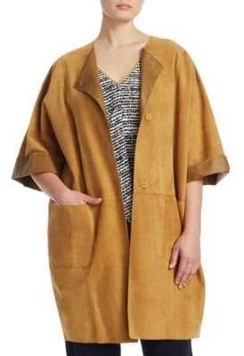 Marina Rinaldi Marina Rinaldi, Plus Size Suede Short-Sleeve Coat