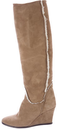 LanvinLanvin Shearling-Trimmed Knee Boots