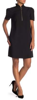 Sharagano Ruffle Collar Zip Dress