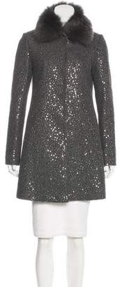 Twin-Set Twin.Set Fur-Trimmed Sequined Coat