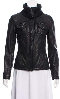 MICHAEL Michael Kors Leather Zip Front Jacket