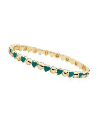 LMTS Girls' Heart 14k Gold Plated Brass Bangle, Turquoise