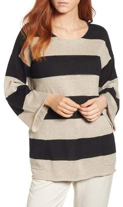 Eileen Fisher Stripe Organic Linen Knit A-Line Top