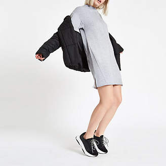 River Island Grey marl high neck sweater dress