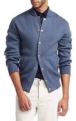 Brunello Cucinelli Men's Varsity Wool-Blend Caridgan