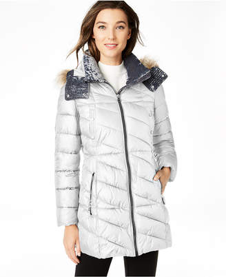 Andrew Marc Velvet-Trim Faux-Fur Hooded Puffer Coat