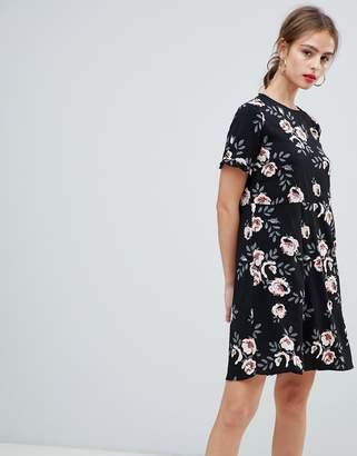 Pieces floral black swing mini dress