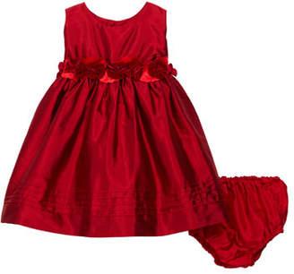 Isabel Garreton Sleeveless Silk Baby Dress with Rose Sash & Bloomers, Size 12-24 Months