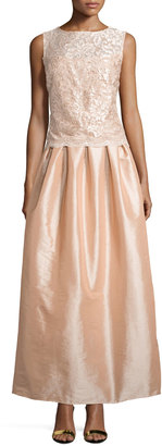 Marina Sleeveless Bateau-Neck Lace Combo Gown, Blush $169 thestylecure.com