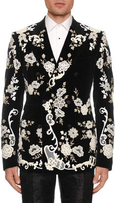 Dolce & Gabbana Men's Floral Lace Embroidered Evening Jacket