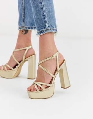 New Look strap up platform high heel in gold
