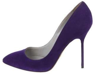 Sergio Rossi Suede Pointed-Toe Pumps