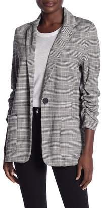 Max Studio Knit Ruched Sleeve Boyfriend Blazer