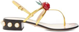 Gucci Hatsumomo cherry-embellished leather sandals