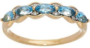 Nobrand NO BRAND Marquise Santa Maria Aquamarine Band Ring, 14KGold, X.XX cttw