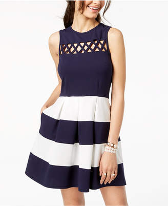 Speechless Juniors' Colorblocked Scuba Fit & Flare Dress, Created for Macy's