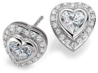 Breuning Sterling Silver Prong & Pave CZ Heart Stud Earrings