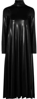 MM6 MAISON MARGIELA Draped Coated Stretch-jersey Turtleneck Midi Dress - Black