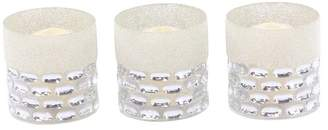 Brimfield & May Modern Glass Cylindrical Silver Candle Holders, Set of 3