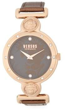 Versace Stainless-Steel Brown Leather Strap Watch