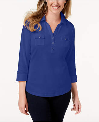 Karen Scott Cotton Polo Top