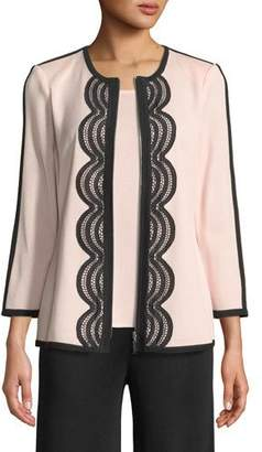 Misook Contrast Lace-Trim Zip-Front Jacket, Plus Size