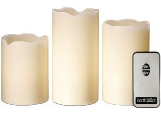 Northpoint 3 Piece Flicker LED Candle Set with Remote