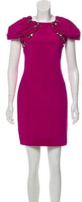 Marchesa Embellished Pleat Accented Dress purple Embellished Pleat Accented Dress