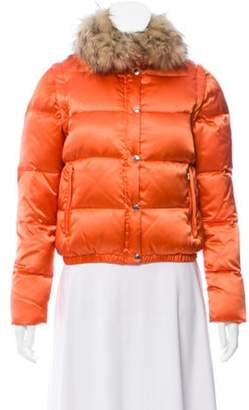 Andrew Marc Fur-Trimmed Down Jacket Orange Fur-Trimmed Down Jacket