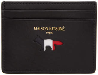 MAISON KITSUNÉ Black Tricolor Logo Card Holder