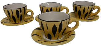 One Kings Lane Vintage French Demitasse Cups & Saucers - Set of 4 - Vaillant & Cie