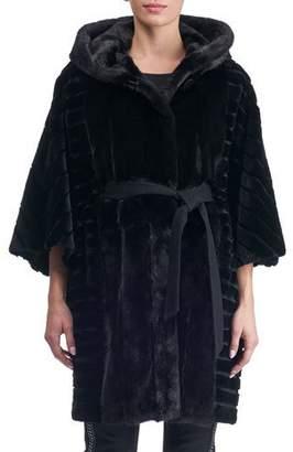 Gorski Batwing Sleeves Sheared Mink Short Coat with Hood
