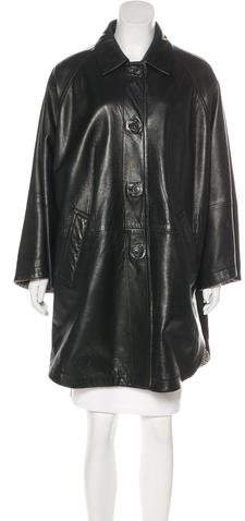Leather Knee-Length Coat